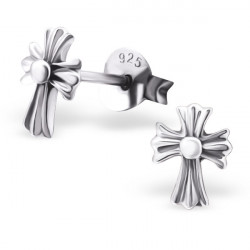 Cross earrings with white...