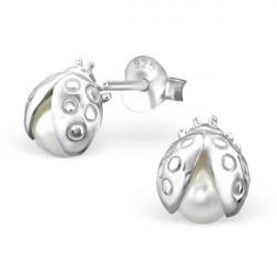 Ladybug Pearl Earrings