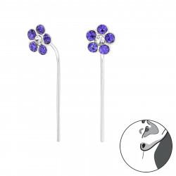 Crystal Flower earrings purple