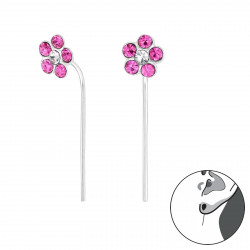 Crystal Flower earrings pink