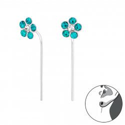 Crystal Flower earrings aqua