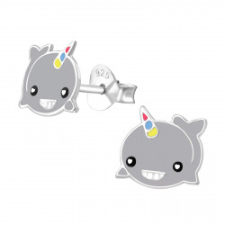 Unicorn whale earrings