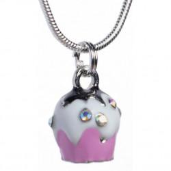 Pink cupcake pendant on chain