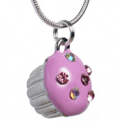 Cupcake pendant with pink...