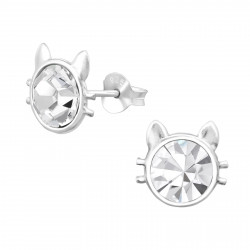 Crystal Cat Ear Studs