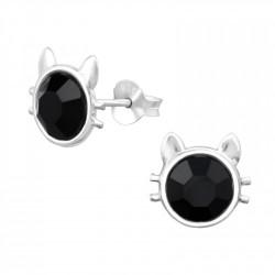 Black Crystal Cat Ear Studs
