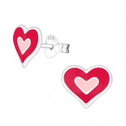 Heart earrings red with pink